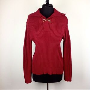 Ralph Lauren Preppy Ribbed Sweater Gold Clasp XL